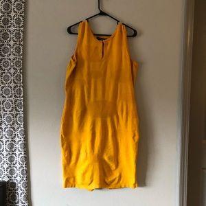Plus Size Yellow Textured Bodycon Dress